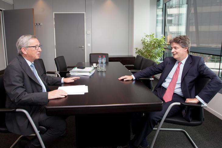 Jonathan Hill op sollicitatiegesprek bij Juncker
