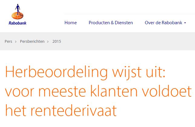 Bericht op website Rabobank, 19-02-2015