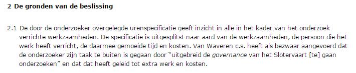 Ondernemingskamer vergoeding Van Andel