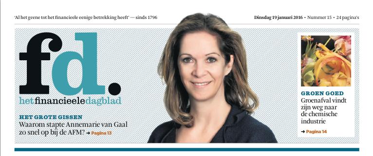 De voorpagina van Het Financieele Dagblad op dinsdag 19 januari